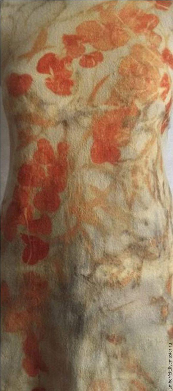 """Купить Валяная туника с эко-принтом """"Эвкалипт"""" - оранжевый, абстрактный, платье, валяное платье"""