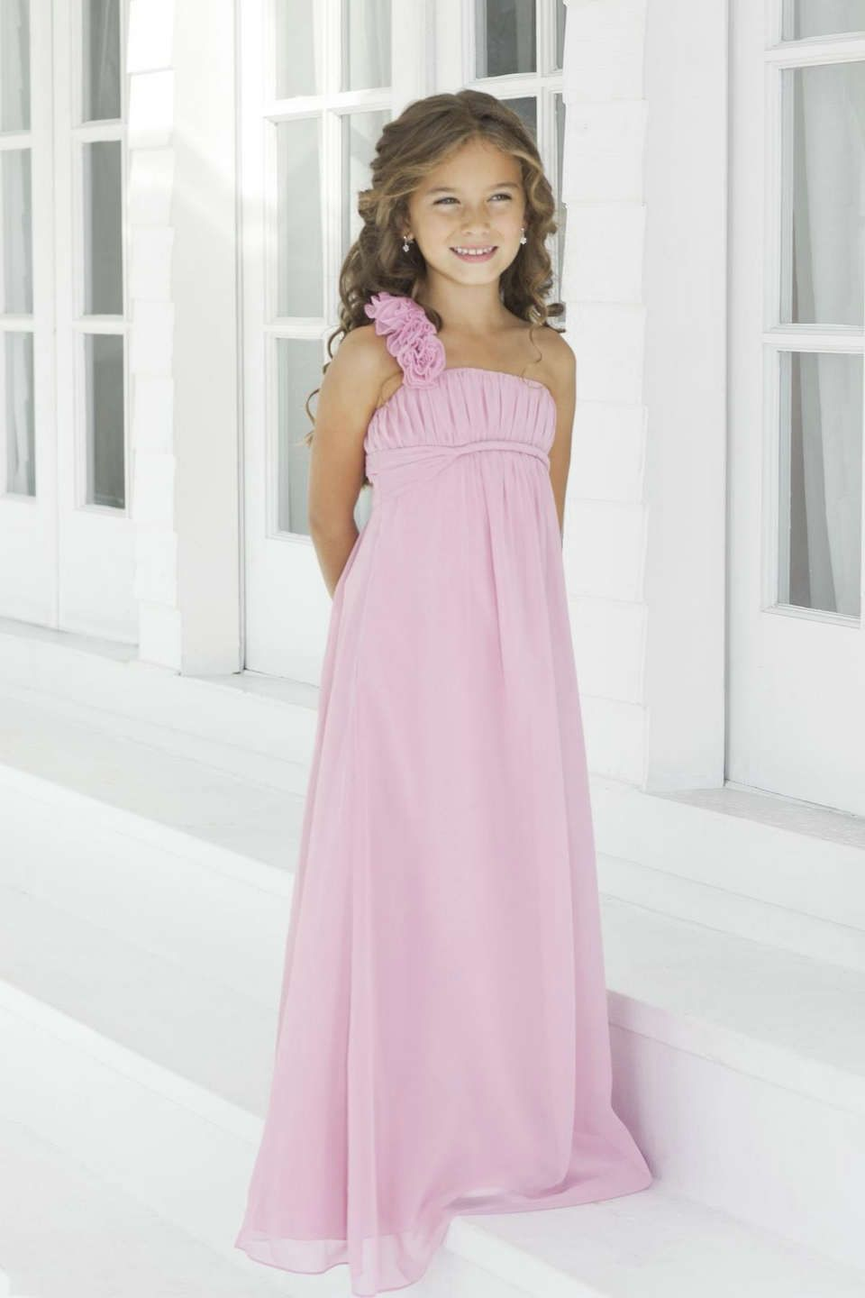 One Shoulder Pink Chiffon Flower Girl Dress | brisi cande ...