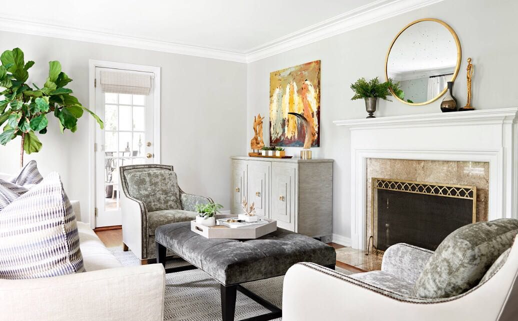 Gray Tones Warmed By Hints Of Gold This Family Room Is Showing Us The Best Of B Interior Retail