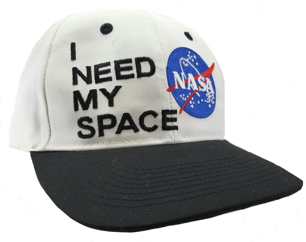 Kennedy Space Center NASA HAT I NEED MY SPACE Adjustable White Baseball CAP