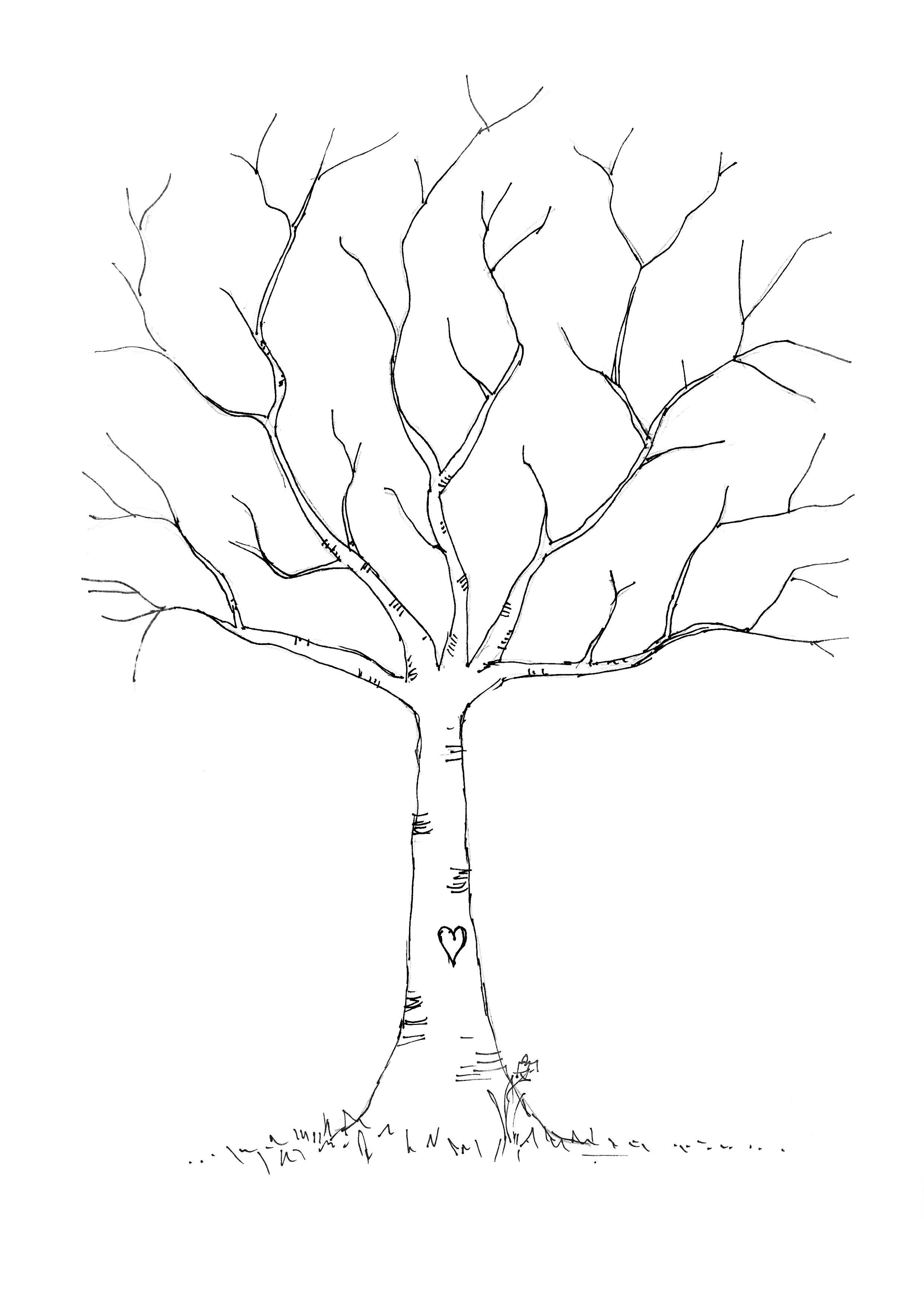 Wedding DIY: Fingerprint Tree Template to Download & Print