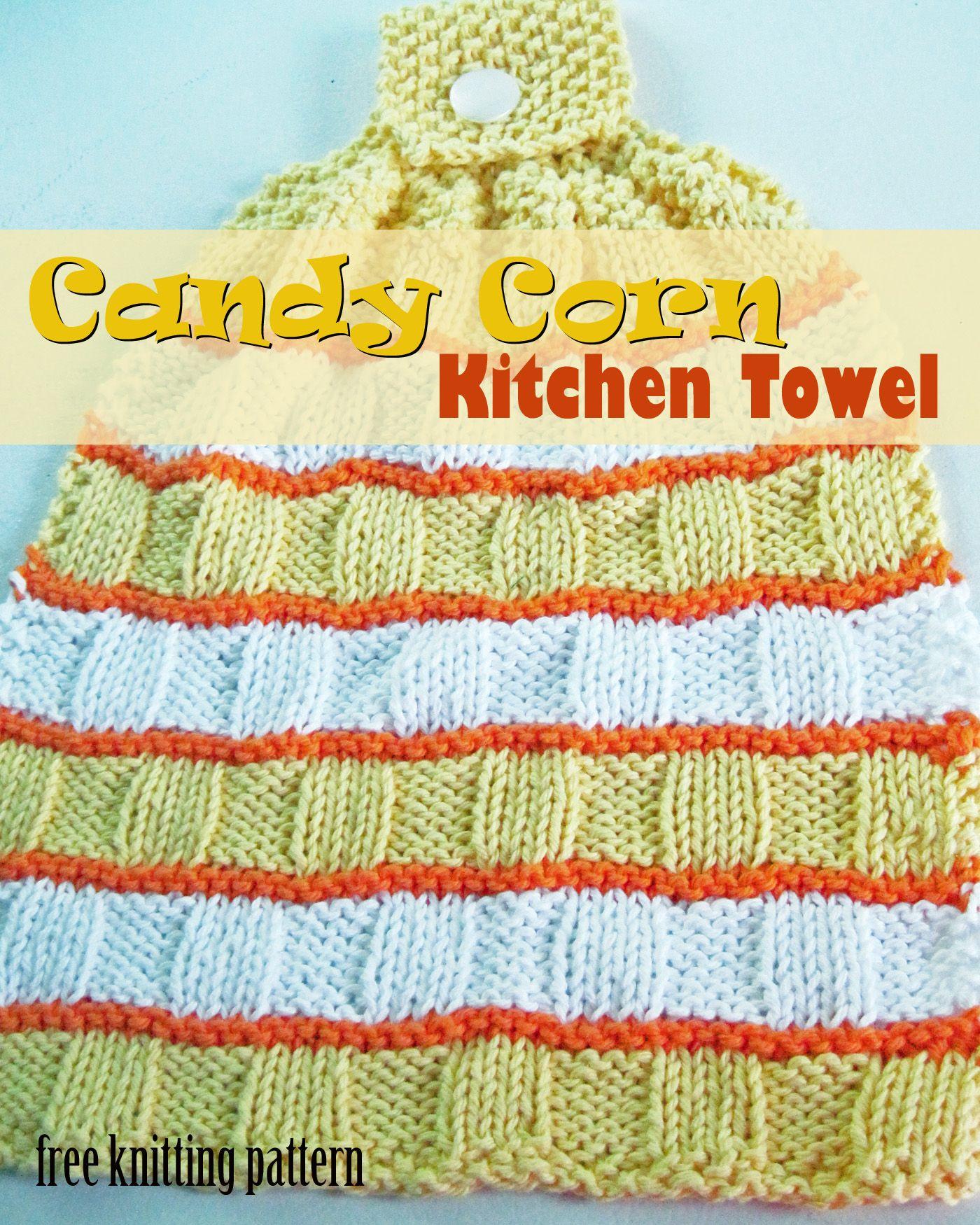 Candy Corn Kitchen Towel - knitting pattern... | Fall Decor ...