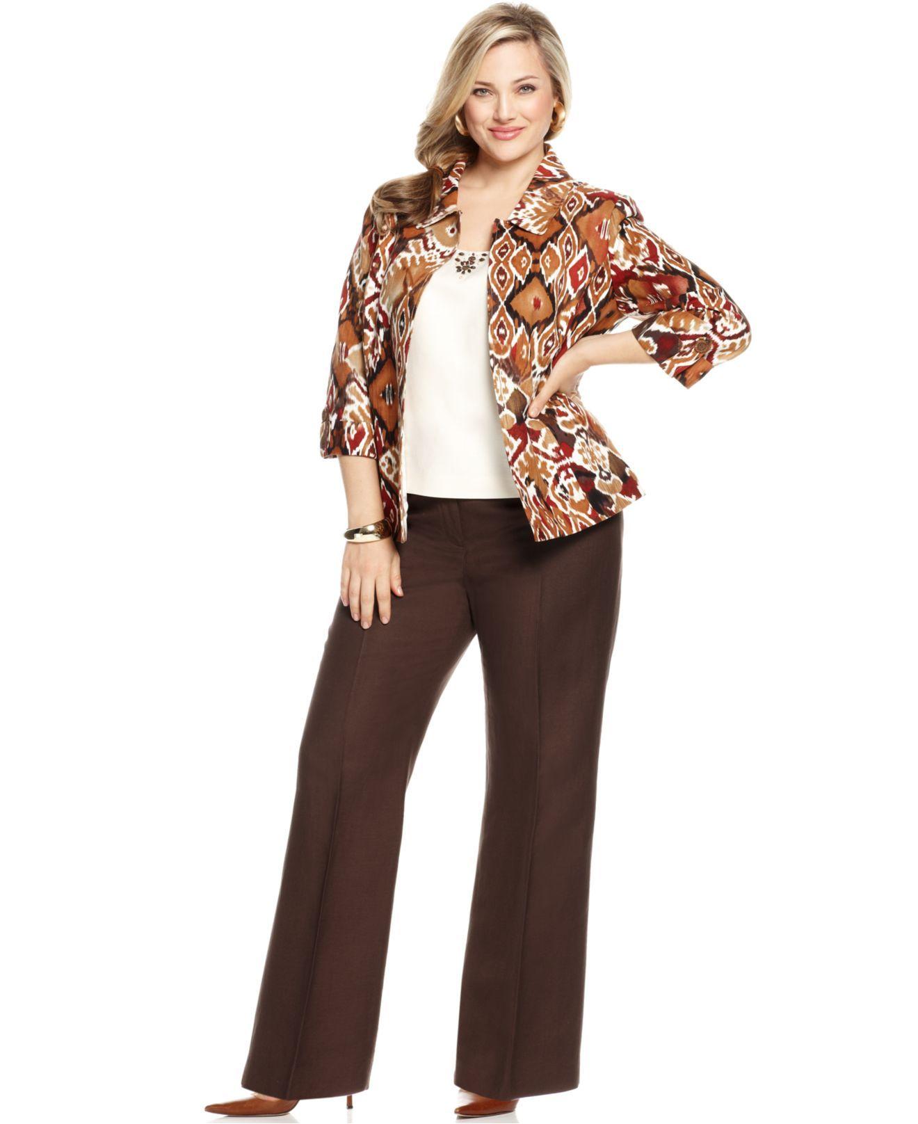 Gertie Macy S Woman Tahari By Asl Plus Size Suit Three