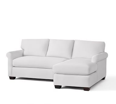 York Roll Arm Upholstered Left Arm Sofa with Chaise Sectional, Down Blend Wrapped Cushions, Twill White