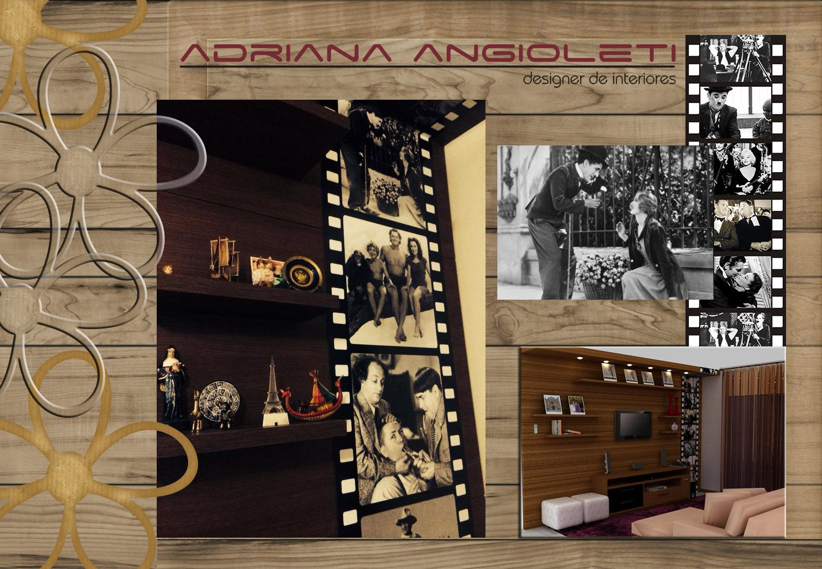 Sala De Tv Com Painel Fotogr Fico Rolo De Filme Antigo Aplicado No