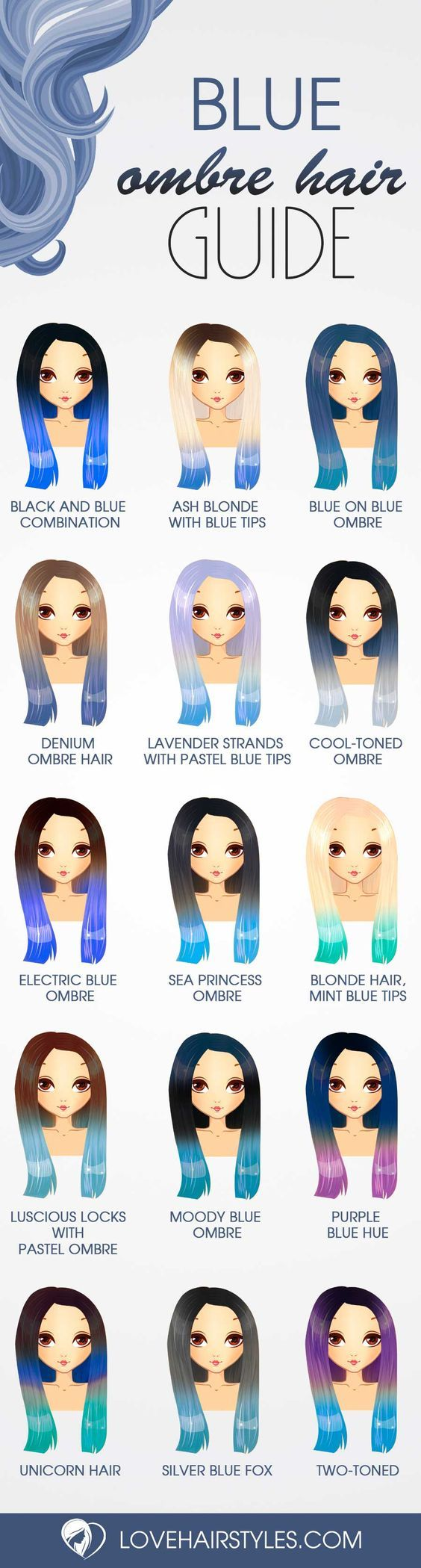 30 Trendy Styles For Blue Ombre Hair #ombrehair