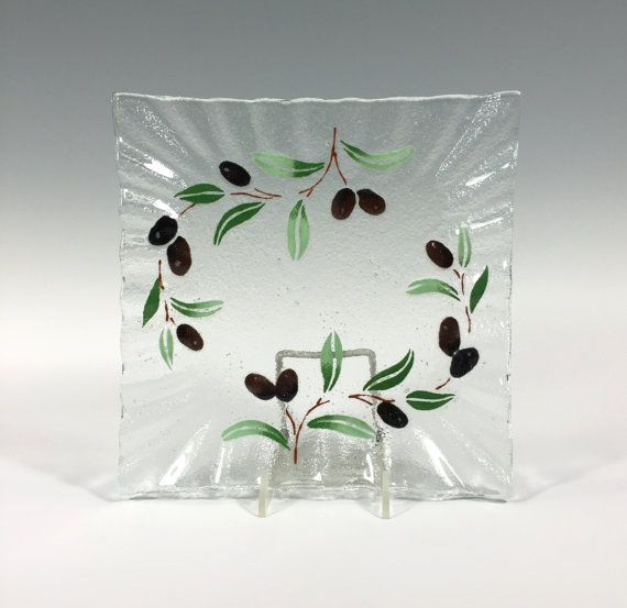 Olive Serving Dish by Richmondglassworks on Etsy
