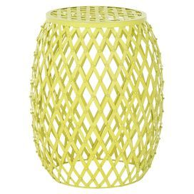 Lattice iron stool in matte yellow.    Product: StoolConstruction Material: IronColor: Matte yellowFeatures:   Contemporary style and timeless look and feelIntricate stripes design Dimensions: 17.7 H x 15 Diameter