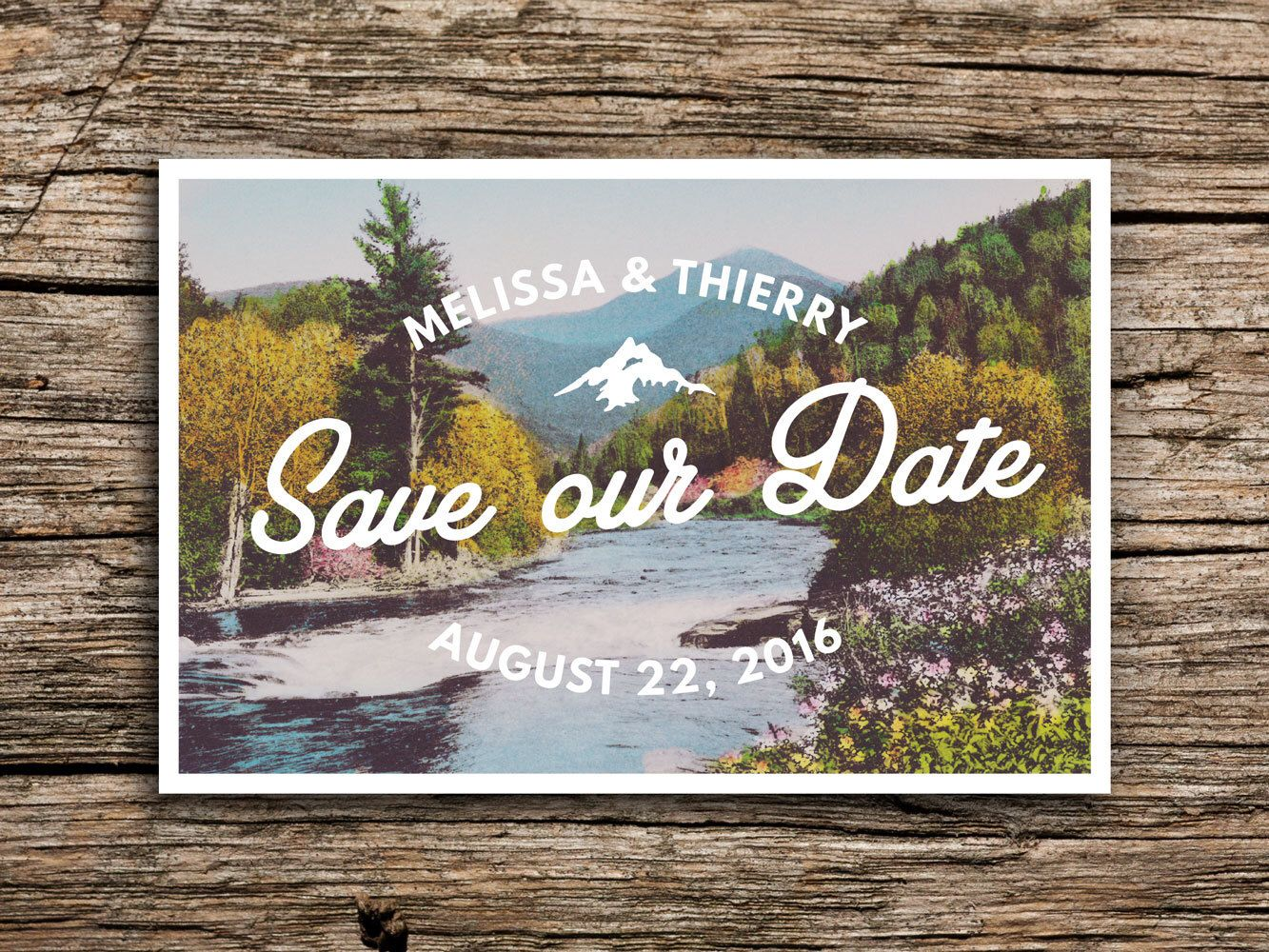 cruise wedding save the date announcement%0A Mountain River Save the Date    Postcard Save the Dates Mountain Wedding  Postcards North Carolina