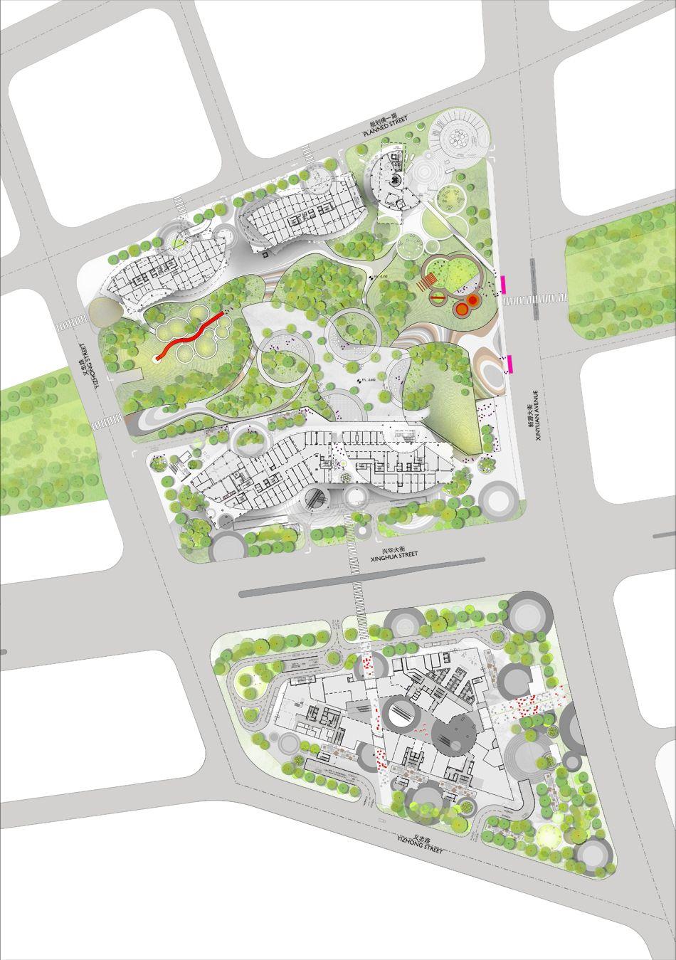 Cantilevered Showroom By Spark Displays Mixed Use Beijing Development Landscape Design Plans Landscape Architecture Design Landscape