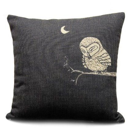 Sunny Outlets Decorative 18 X 18 Inch Linen Cloth Pillow Cover Cushion Case Owl In Linen Pillow Covers Decorative Throw Pillow Covers Decorative Pillow Cases