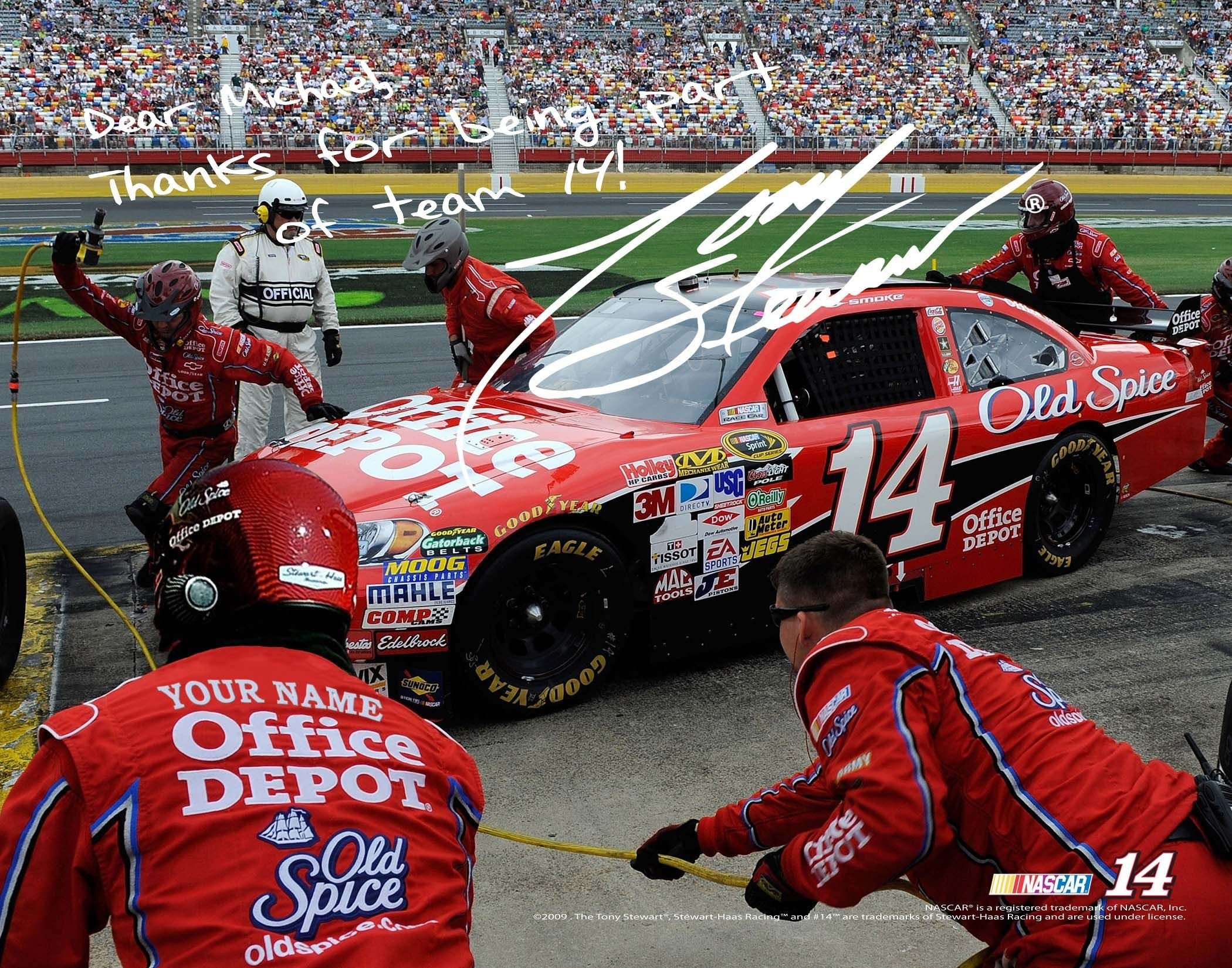 tony stewart nascar autograph pit crew print officially licensed ...