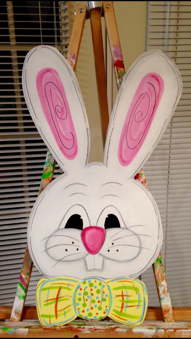 Easter Bunny Door Hanger Holiday Wood Crafts Bunny Face