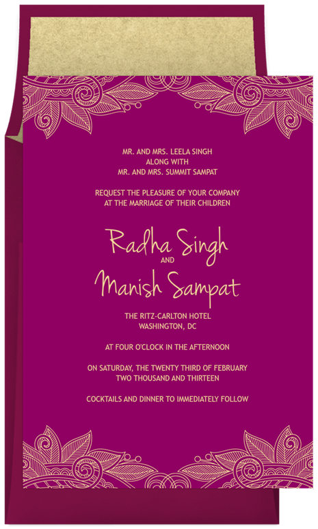Leaf Outlines Invitations In Purple Greenvelope Com Indian Wedding Invitations Wedding Invitation Wording Indian Wedding Invitation Wording
