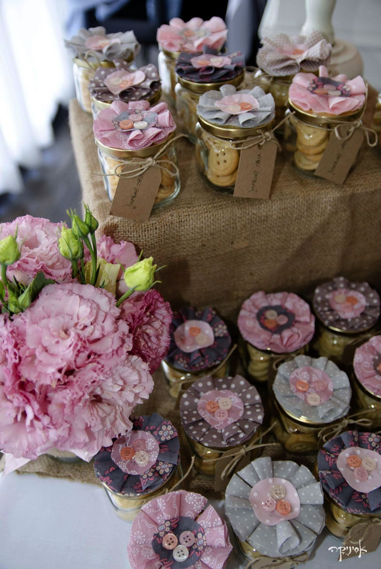 Vintage Shabby Chic Party  Button Cookies In A Jar