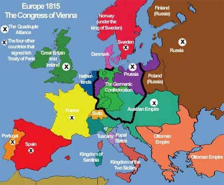 Map: (1815) Europe / The Germanic Confederation | History ...