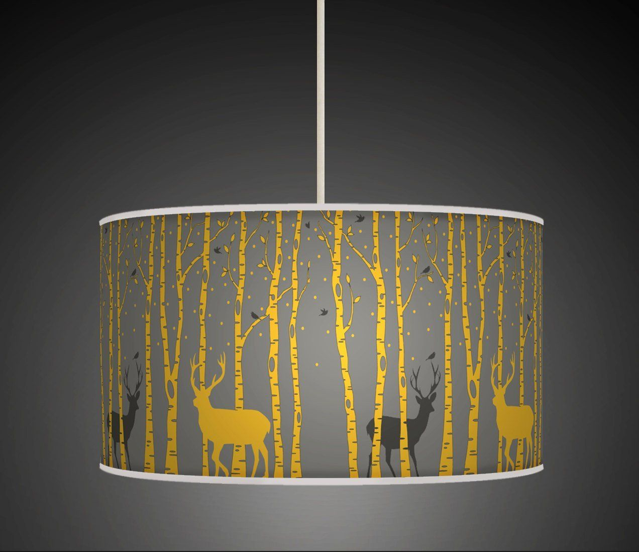 30cm Trees Stag Deer Mustard Yellow Grey Retro Handmade Giclee ...