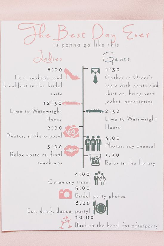 bridal party schedule