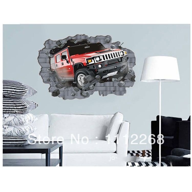 pas cher jeep pause wall sticker enfants chambre 3d papier peint enfants chambre hummer stickers. Black Bedroom Furniture Sets. Home Design Ideas