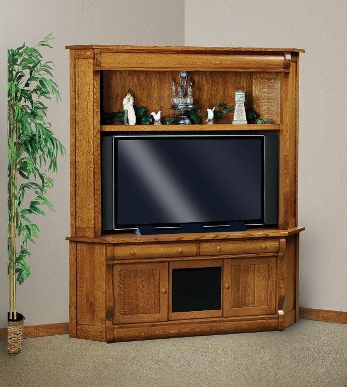 Amish Classic Sleigh Two Piece Corner Entertainment Center ...