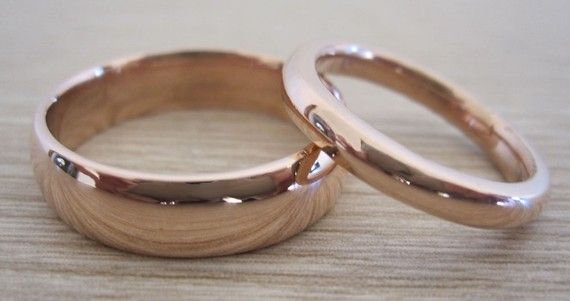 14k Pink Gold Wedding Ring Band Set