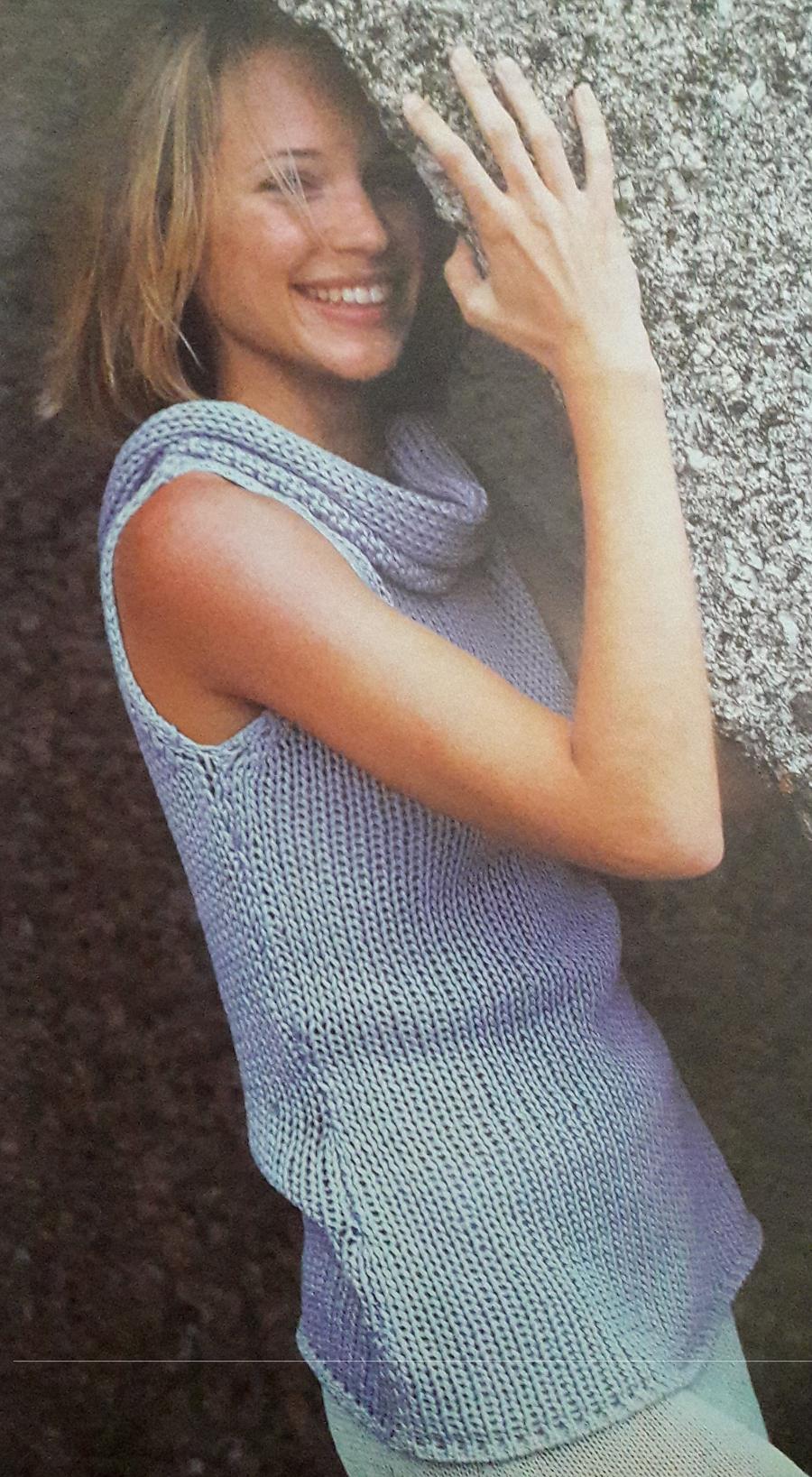 """Patrón para tejer un sweater sin mangas con """"falso cuello""""   MUNDO ..."""