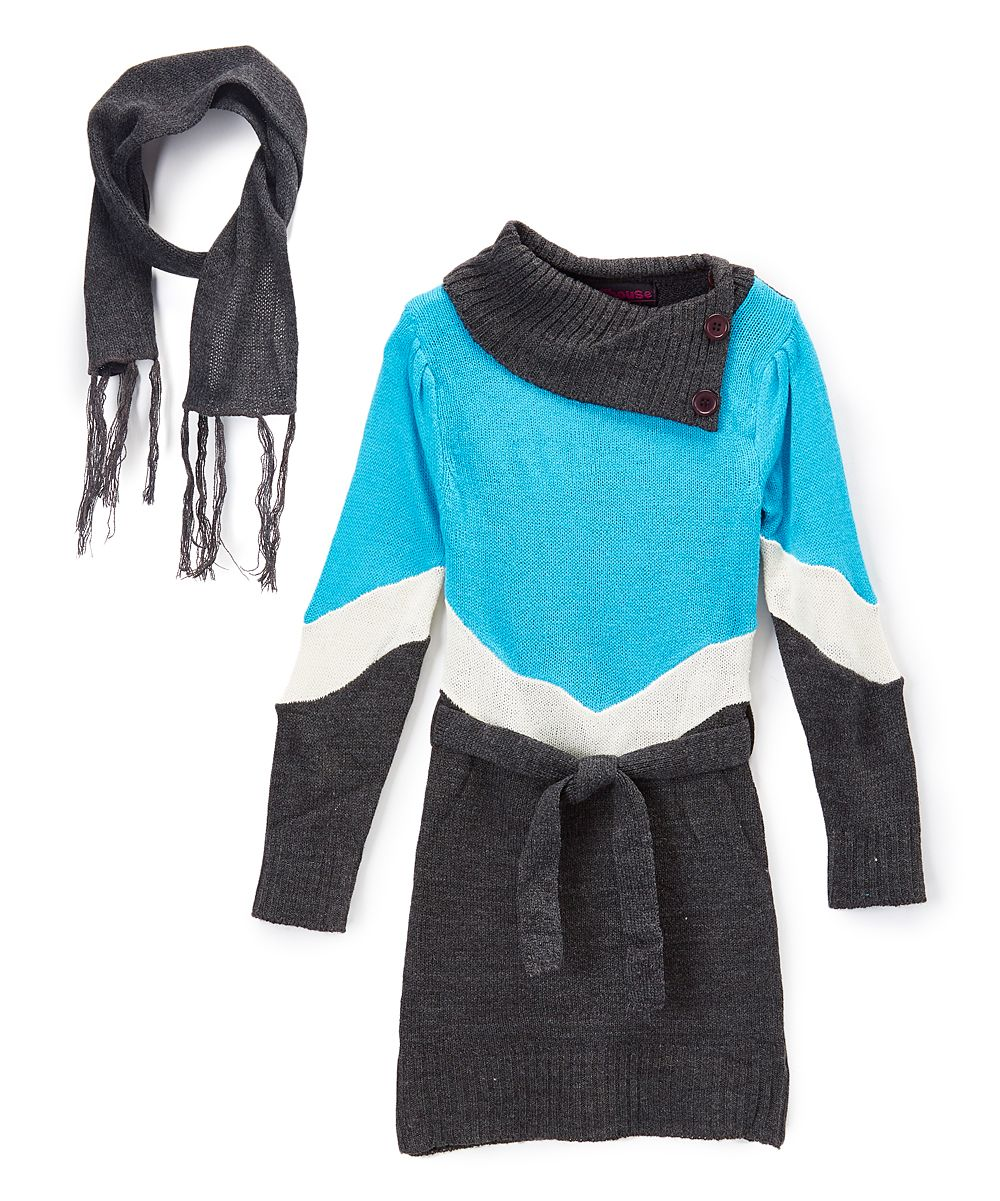 Turquoise and Black Sweater Dresses