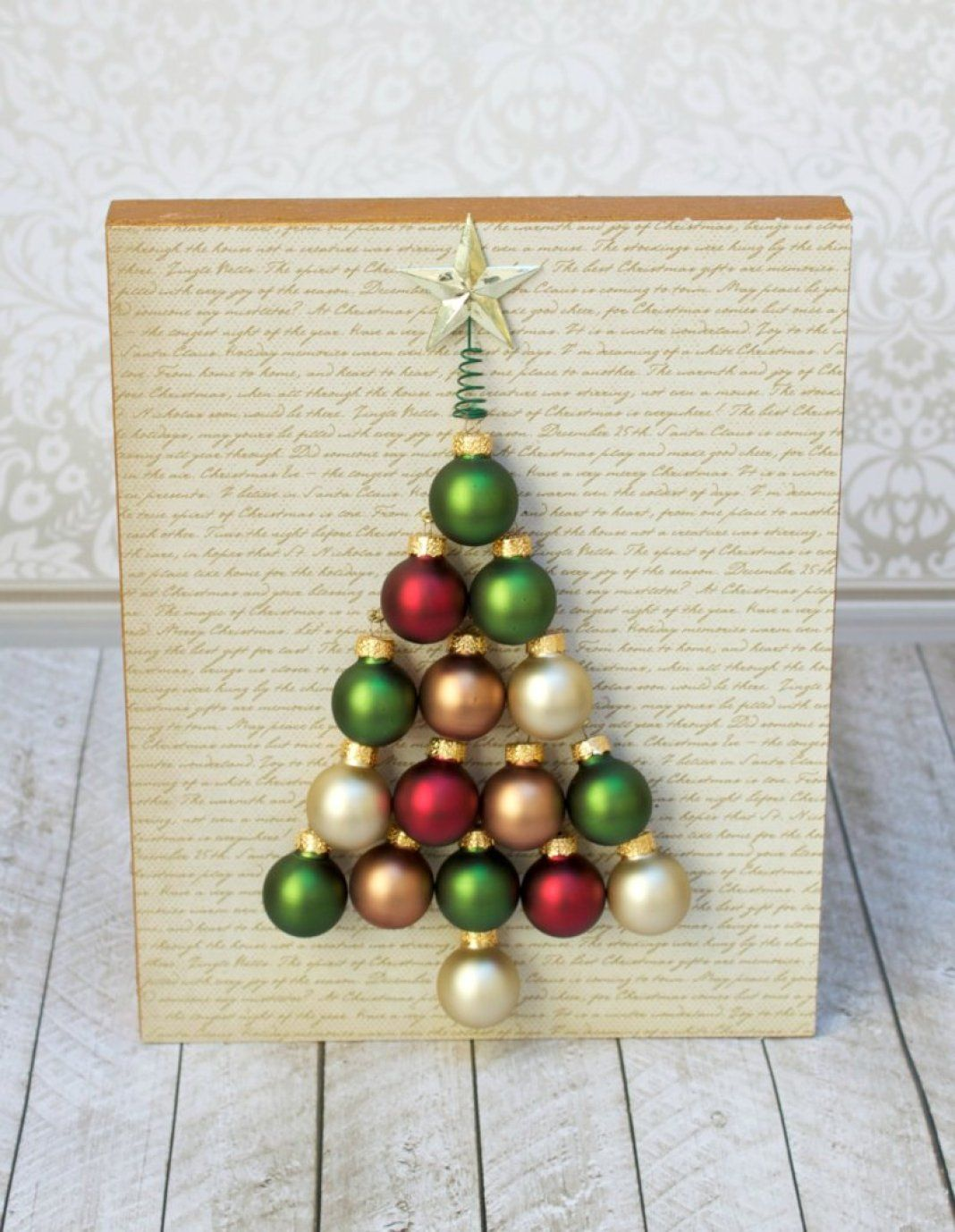 I Used Miniature Glass Ball Ornaments To Create A Christmas Tree To Decorate My Home With This Winter Diy Christmas Wall Diy Santa Ornaments Holiday Wall Art
