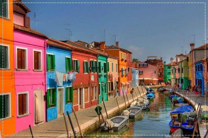 Burano, Veneza, Italia, Fachadas Coloridas, Fachadas divertidas, Arquitetura colorida, Gôndolas