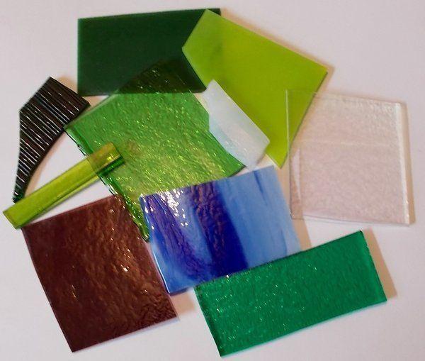 1/4lb (4 oz) Opal, Transparent and Iridescent Mix 90 COE Scrap Assortment #Bullseye #Uroboros