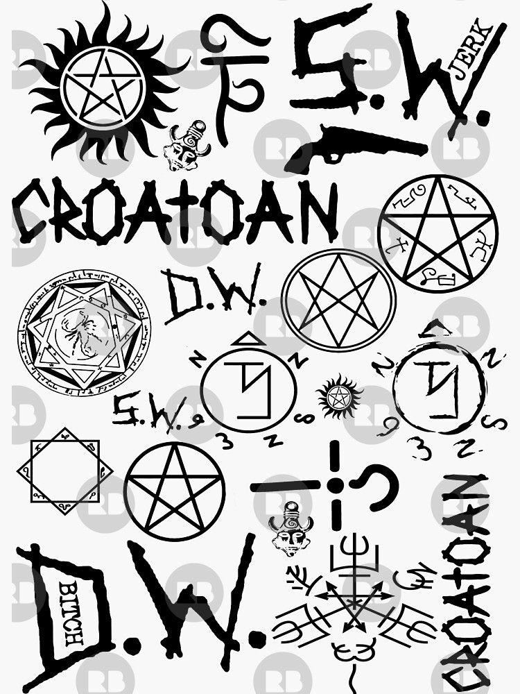 Spn Angel And Demon Sigils Blackversion Sticker By Kurticide In 2021 Supernatural Tattoo Supernatural Drawings Supernatural Symbols