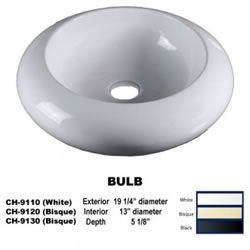 Porcelain Vessel Sink Round White Bisque Or Black 19 Inch Bulb