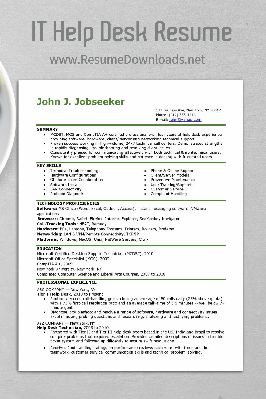 It Help Desk Resume Resume Examples Resume Resume Skills