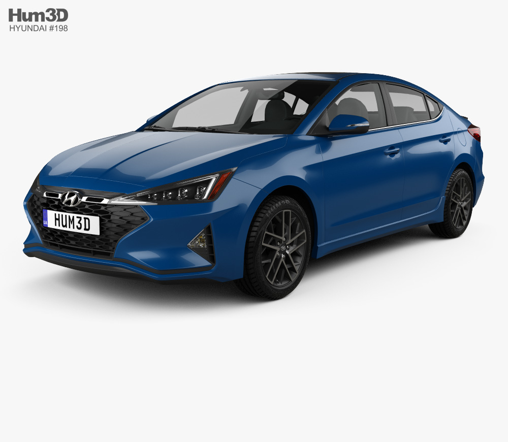 3D model of Hyundai Elantra Sport Premium 2019 Car 3d