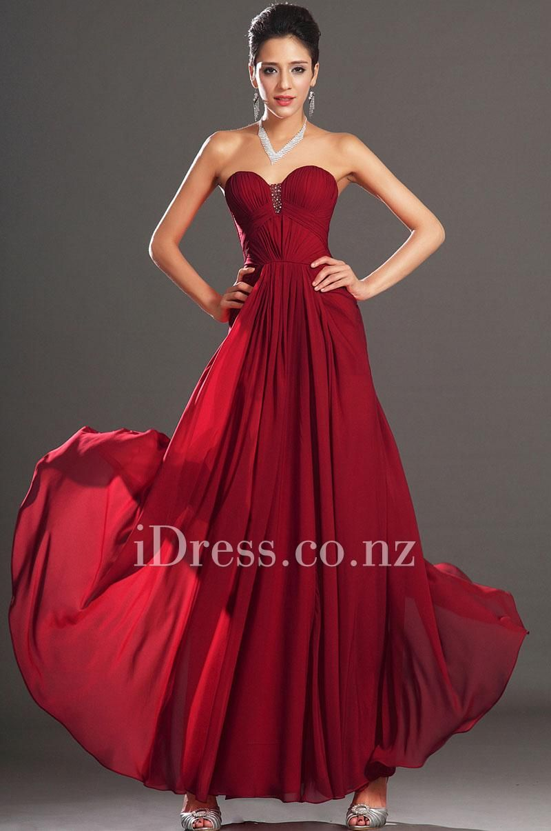 dark red strapless sweetheart long a line prom chiffon dress ...
