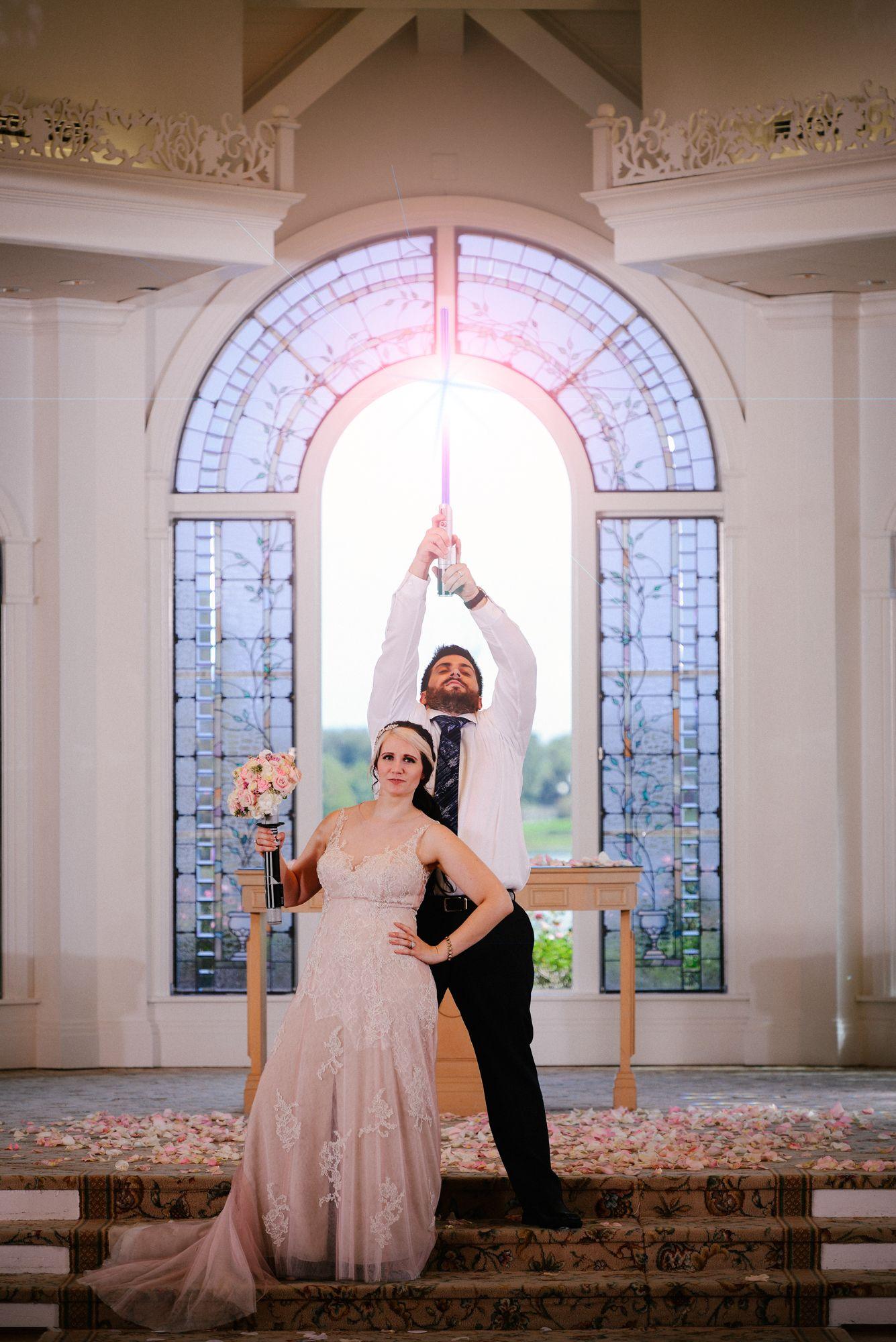 Couple recreates iconic Star Wars pose inside Disney\'s Wedding ...