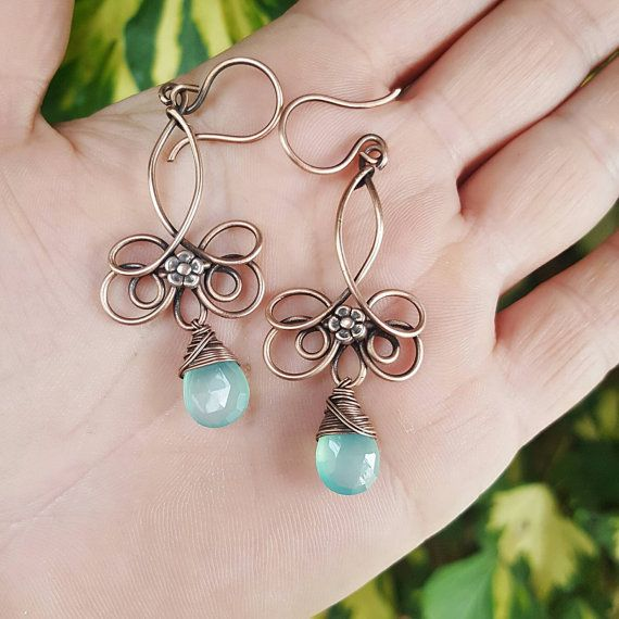 Delicate chalcedony earrings, copper wire earrings, aqua blue ...
