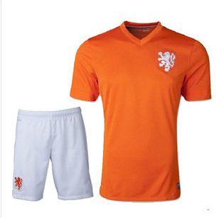 e44f97b05 World Cup 2014 Netherlands national team home jersey short sleeve jersey  football clothes suit set jersey
