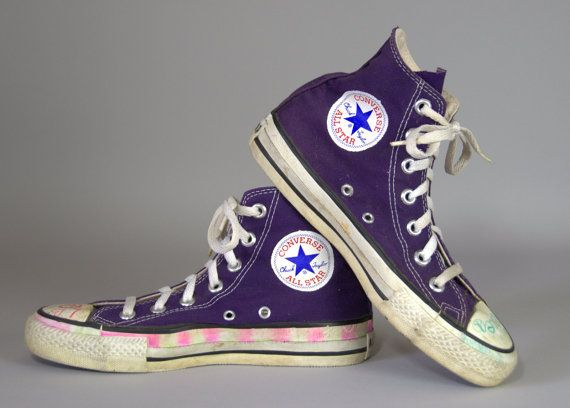 a2dd9e0433d7 80s Converse Made In USA Purple Chuck Taylor High Top Converse Allstars