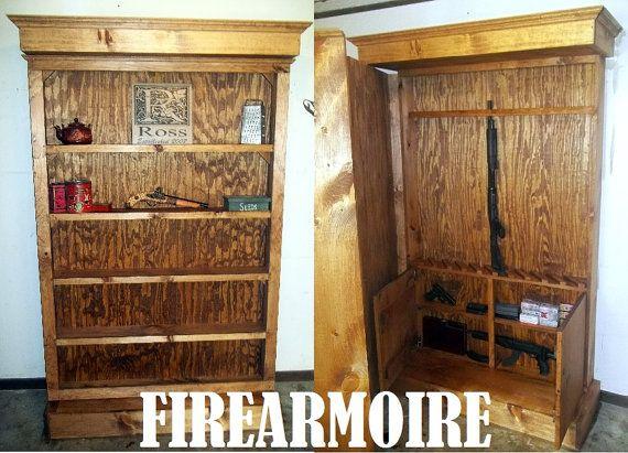 Hidden Gun Storage Bookshelf Cabinet By Roughcountryrustic Bookcase In