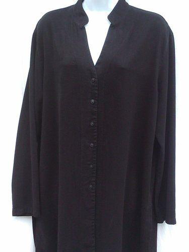 TIANELLO SZ M Top Tencel Blend Mandarin Collar Long Duster Blouse Shirt Tunic
