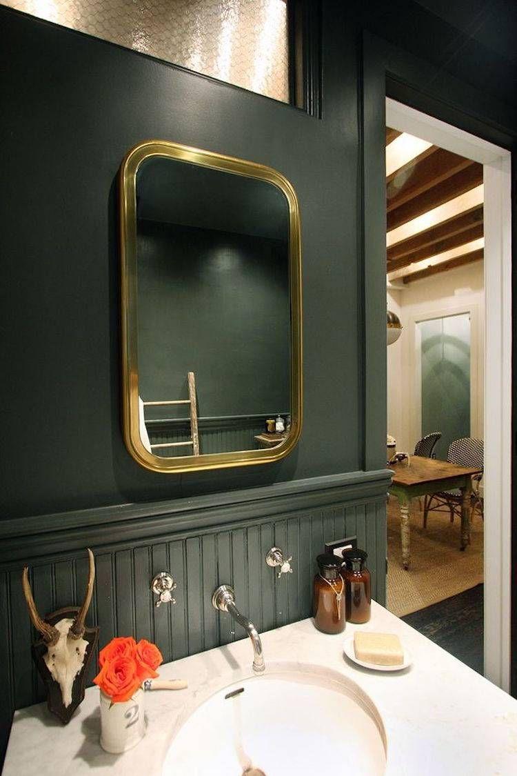 Charmant Design De La Salle De Bain Rétro Peinture Murale Vert Foncé #bathroom  #design