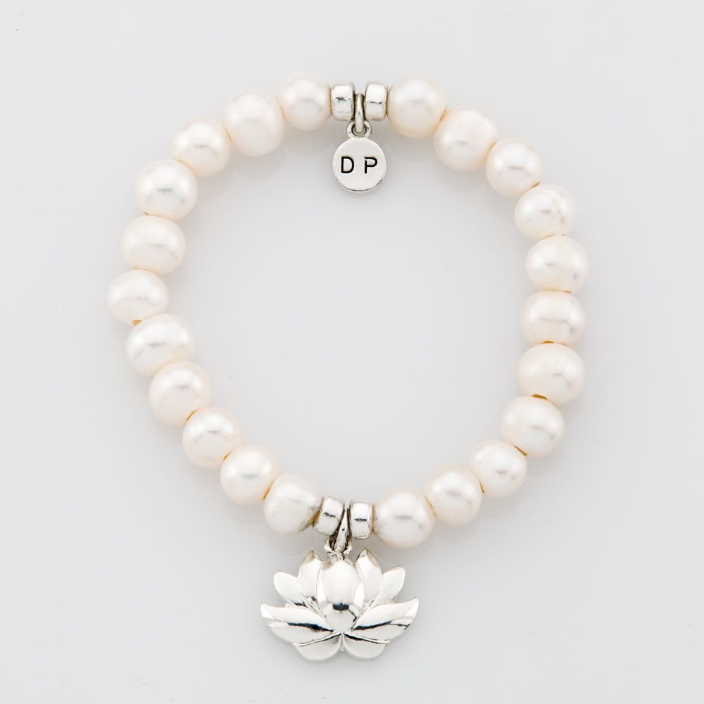 The silver lotus flower semiprecious bead bracelet by paquette