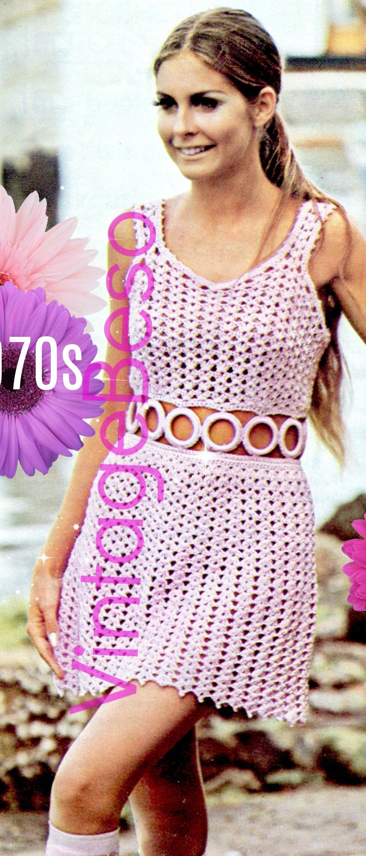 INSTANT DOWNlOAD - PdF Pattern - Dress Crochet Pattern Vintage 1970s ...