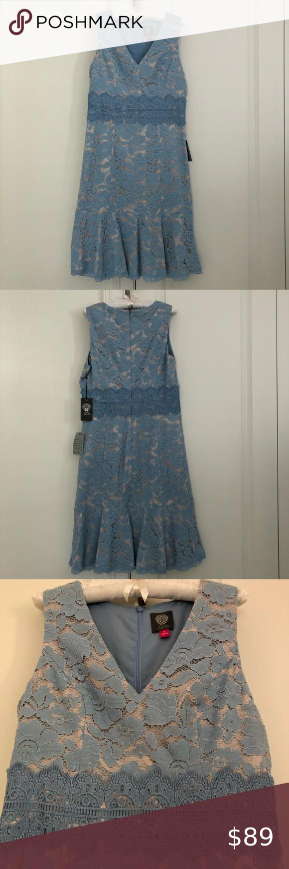New Vince Camuto Sleeveless Blue Lace Dress Vince Camuto Sleeveless Powder Blue Lace Flounced Dress Back Zipper Ne Lace Blue Dress Clothes Design Blue Lace [ 1740 x 580 Pixel ]