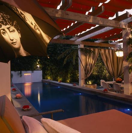 Pools zen pool pergola taupe outdoor drapes for Zen pool design