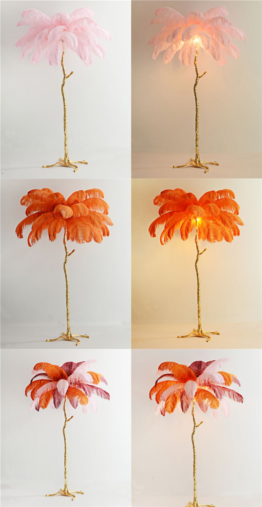 Nordic Luxury Ostrich Feather Led Standing Lamp Atmosphere