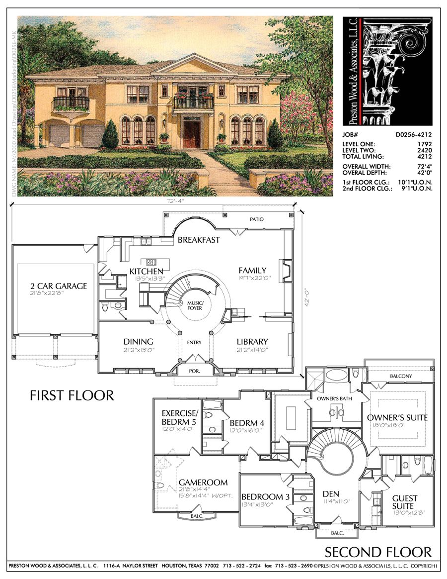 Eclectic Style Two Story Home Plan Ad0256 Two Story House Plans Mansion Floor Plan House Plans