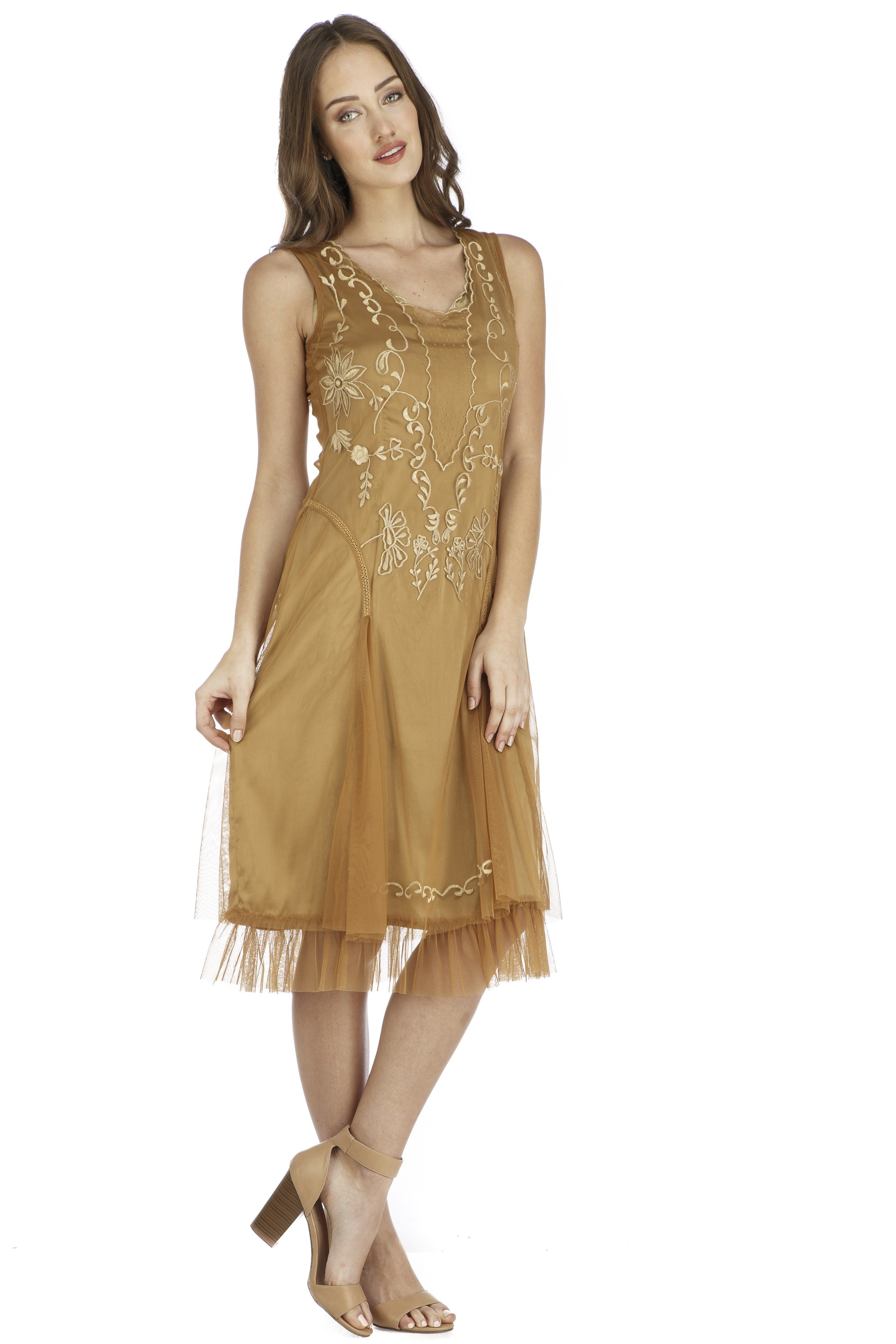 Tara Vintage Style Party Dress in Bronze by Nataya
