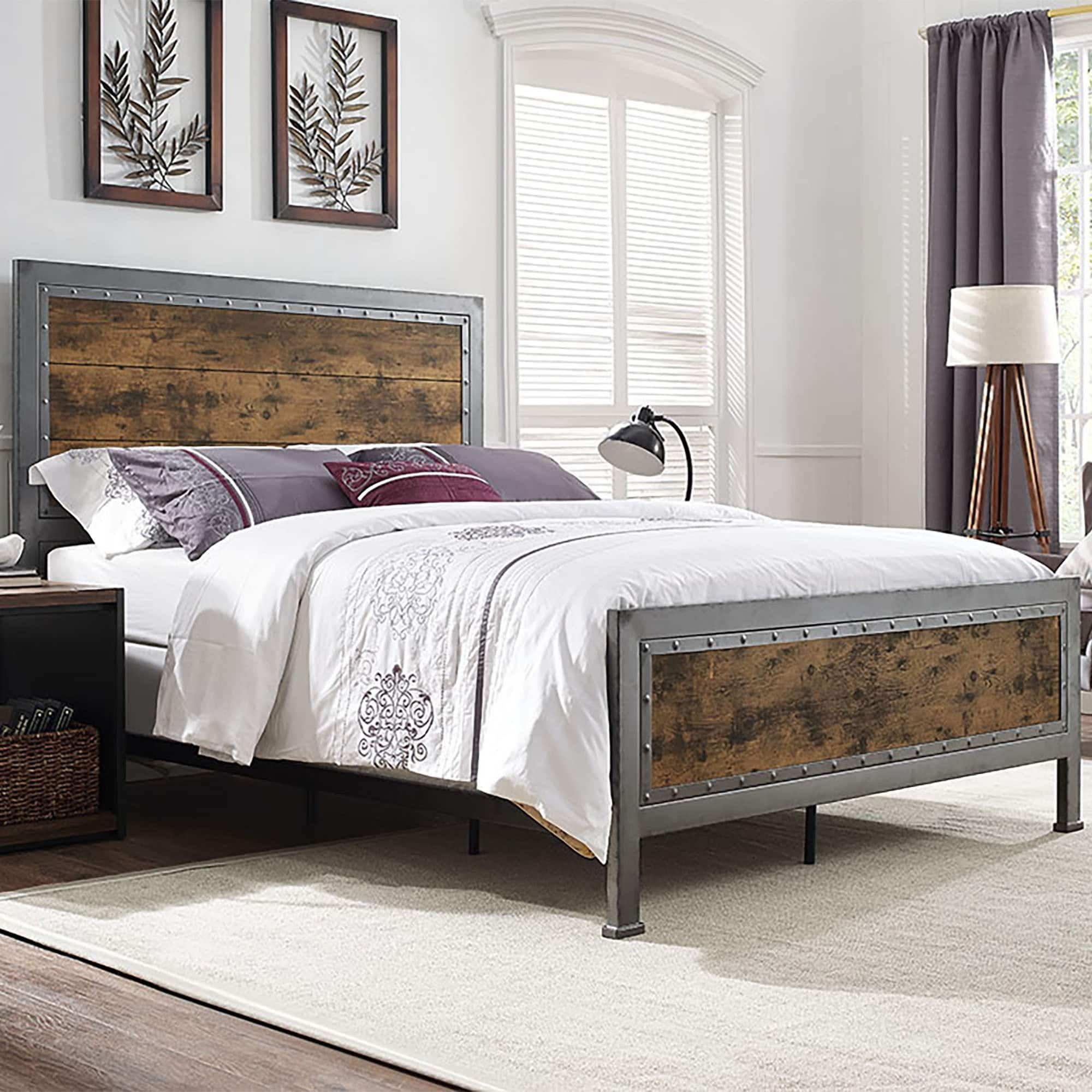 Queen Size Industrial Brown Wood And Metal Bed  Free